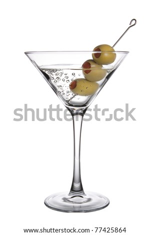 An Olive Martini Cocktail with bubbles on white background - stock photo