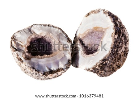 an open amethyst geode isolated over a white background