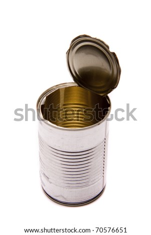 An open and empty tin can on a white background. - stock photo