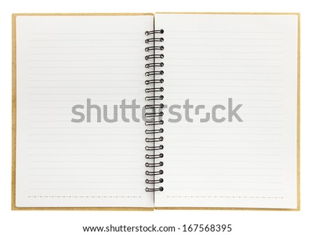An open blank notebook with spiral isolated on white - stock photo