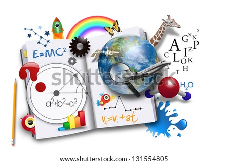 An open book has various math, science and space concepts coming out of it for a school or learning concept. Elements of this image furnished by NASA. - stock photo