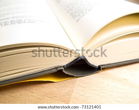 An open book in a typesetter office - stock photo