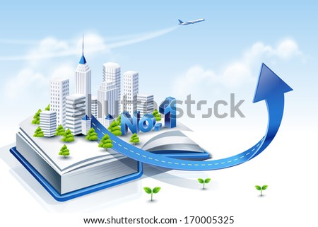 An open book with a group of white buildings inside. - stock photo