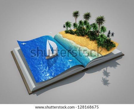 an open book with a real holiday - stock photo