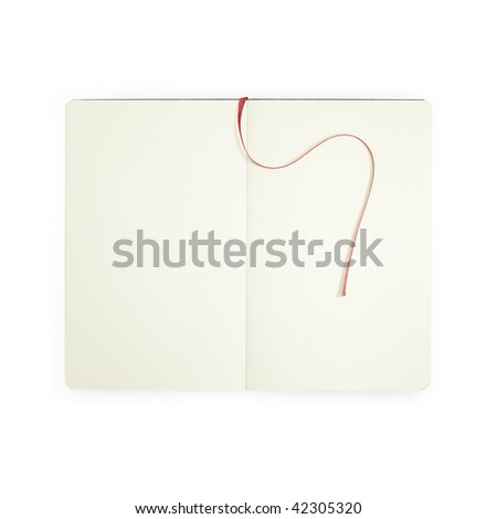 An open book with blank white pages with red ribbon - stock photo