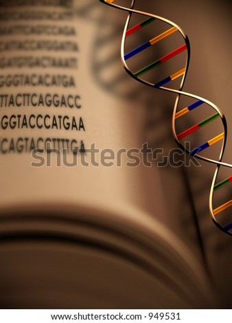 An open book with dna strand and gentic code - stock photo
