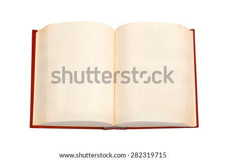 An open book with red cover and empty pages - stock photo