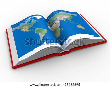 Open book world map 3d render stock illustration 95462695 shutterstock an open book with the world map 3d render gumiabroncs Choice Image