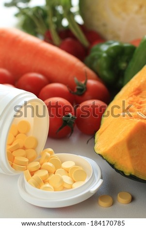 An open bottle of yellow pills, a cut open squash, and red tomatoes. - stock photo