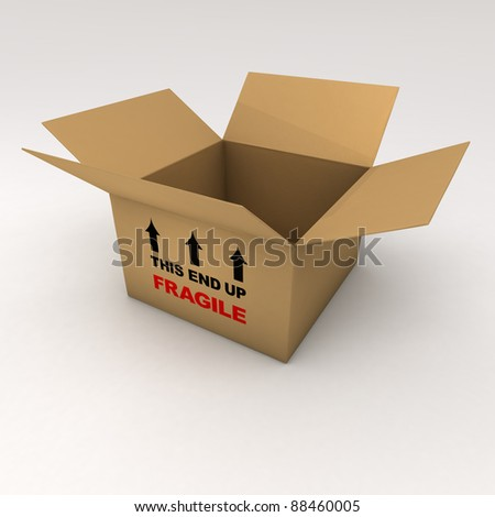 An open box with the word fragile - stock photo