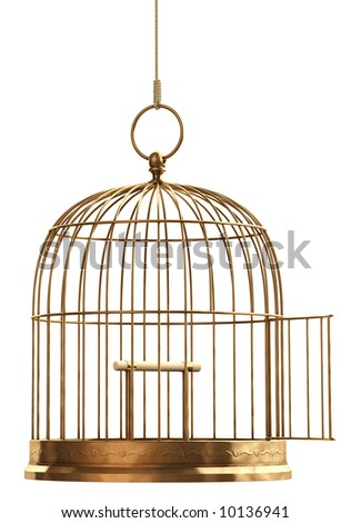 An open brass birdcage hanging on a string over white - stock photo