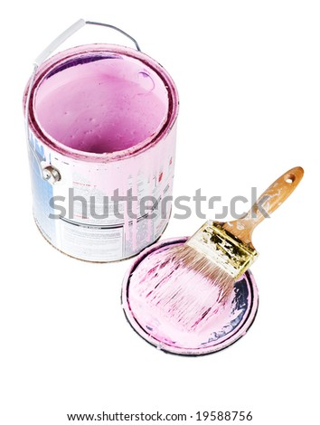 An open can of pink paint with a loaded brush isolated with a clipping path - stock photo