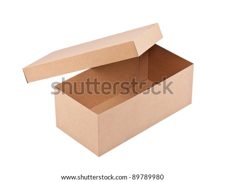 An open cardboard box in white - stock photo