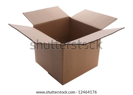 An open  cardboard  box    isolated with clipping path - stock photo