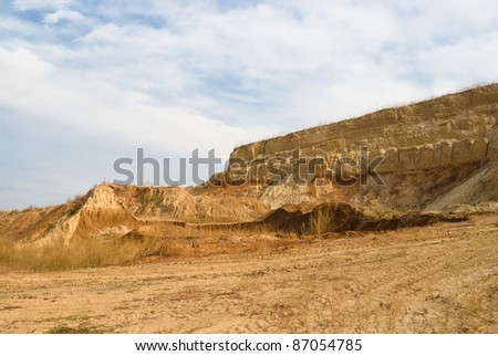 An open clay pit in Ukraine. - stock photo