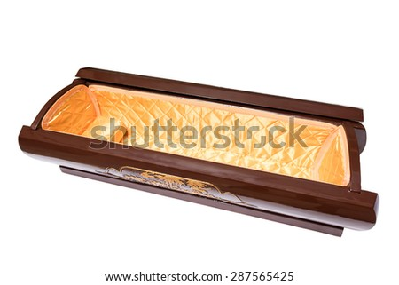 an open coffin, isolated on a white background with clipping path - stock photo