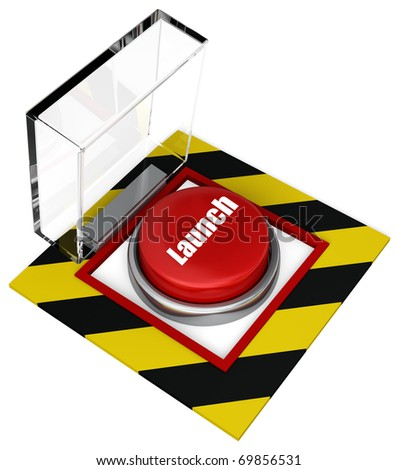 An open covered launch button at the ready. Isolated on white. - stock photo