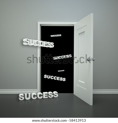 An open doorway with the words success floating in and beyond the doorway.