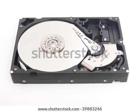 An open hard drive with the 3 disc and the writing finger.