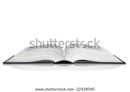 An open hardback book with reflection isolated on a white background. - stock photo