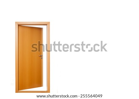 An open light brown wooden door with doorknob and keyhole, with frame, outside view, white light, surrounded by white wall