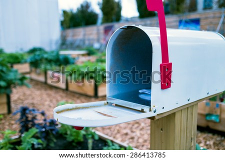 an open mailbox in garden - stock photo