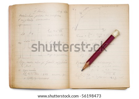 an open math notebook on white with pencil on it - stock photo