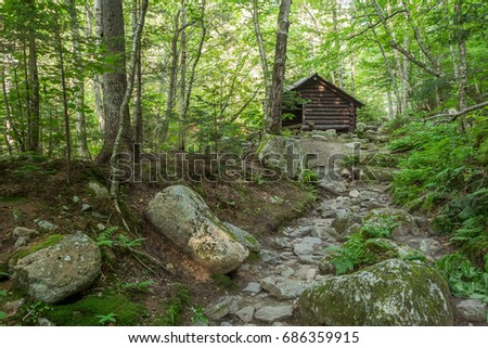 An open mountain hut in the White Mountains, New Hampshire, USA.