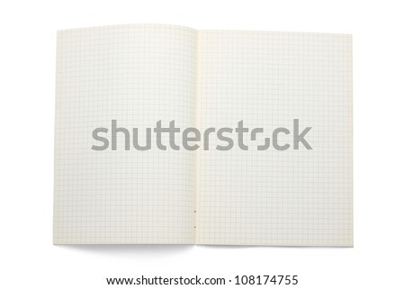 An Open Notebook With Grid Paper - stock photo