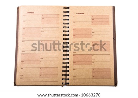 An open old address book - stock photo