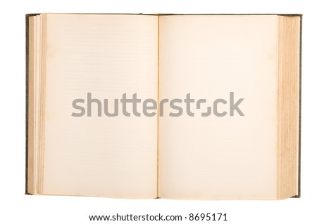 An open old book with blank pages - stock photo
