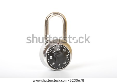 An open padlock, a security symbol - over a white background - stock photo