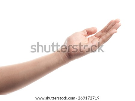 An open palm in gesture of pleading or requesting, isolated on white. - stock photo