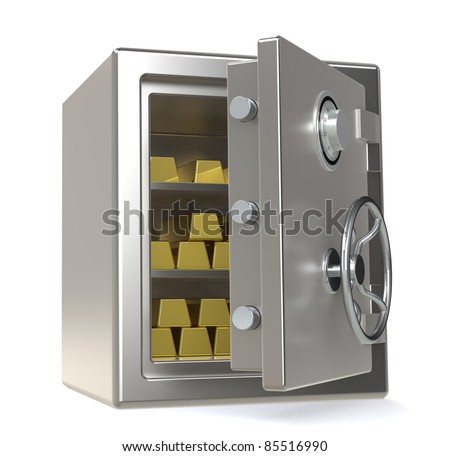 An open Safe with Gold Bars
