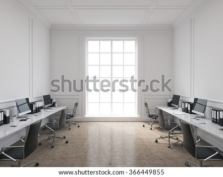 An open space office, tables with computers arranged along the walls, panoramic window in the centre. Concept of work. 3D rendering - stock photo