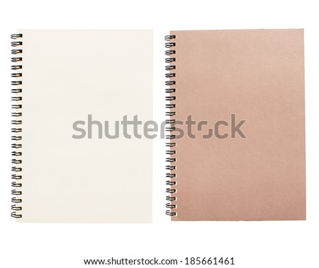 An open vintage sketchbook or notebook. Isolated on white background.