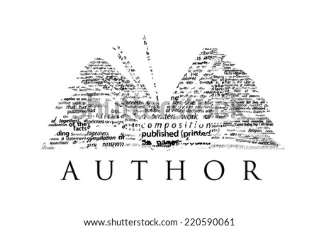"An opened book made of black words on a white background with the word ""AUTHOR"" under it - Word cloud - stock photo"