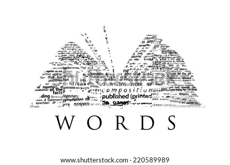 "An opened book made of black words on a white background with the word ""WORDS"" under it - Word cloud - stock photo"