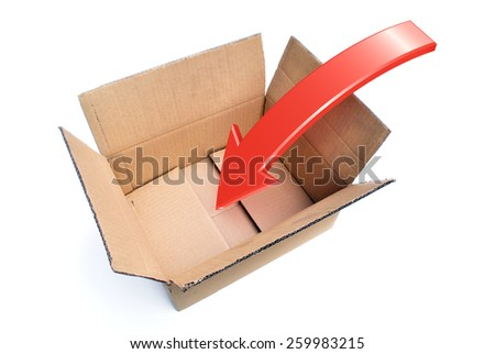 An opened box with a Rendered Arrow showing a Packing Concept - stock photo