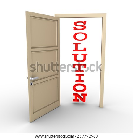 An opened door reveals a SOLUTION word - stock photo