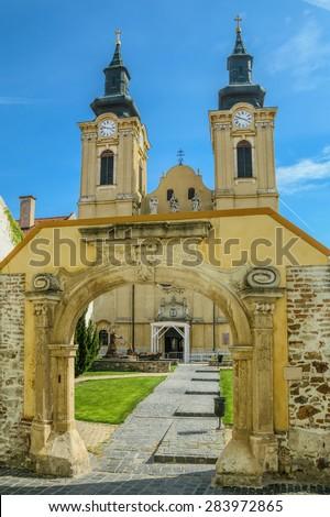 An Opened Gate to the Church Yard, Szekesfehervar, Hungary - stock photo