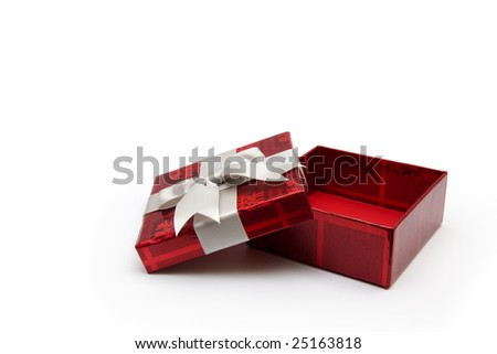 An opened red gift box with white ribbon, for any occasion. - stock photo