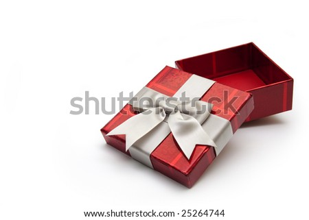 An opened red gift box with white ribbon, for any occasion.