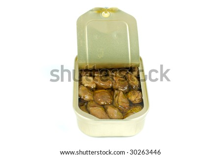 An opened tin of smoked oysters or mussels on a white background