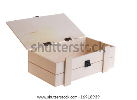 An opened wooden box isolated on white - stock photo