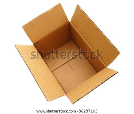 An opening cardboard box - stock photo