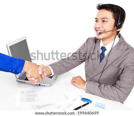 an operator was shaking hands with its customers, isolated on white background - stock photo