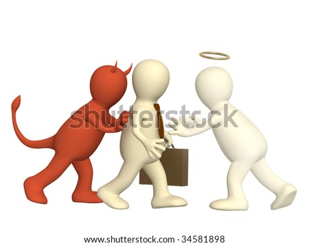 An opposition of angel and devil - stock photo