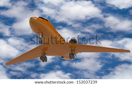 An orange airplane prepare for take off on the ground isolated against the sky