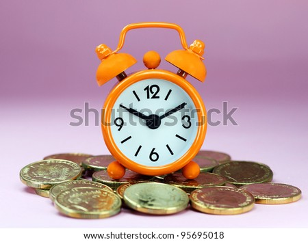 An Orange alarm clock placed on some golden coins with a pastel pink background, asking the question how long before your investment matures?